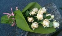 Кремовые розы Состав букета: роза кремовая- 11 шт. Розы, выложенные каскадом.