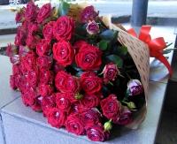 Букет красных кустовых роз Состав букета: роза кустовая красная- 19 веток Оформление: бумага флористическая Размер: 60 см