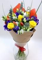 Букет Улыбка весны Состав букета: ирис синий- 5 шт тюльпан красный- 5 шт роза желтая- 5 шт эустома белая- 5 веток декоративная зелень эвкалипт -2 ветки Оформление: бумага