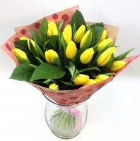 Букет Весенние цветы Состав букета: тюльпан -19 шт Оформление: бумага флористическая Размер: 45 см