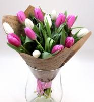 Белое и розовое Состав: тюльпан разноцветный- 17 шт зелень арахнеодис. берграсс Оформление: лента