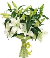 Букет лилий Состав букета: лилия- 5 шт, зелень. Ваза в стоимость букета не входит. Ее Вы можете приобрести отдельно.